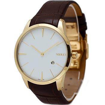 ساعت ویولت مردانه کلاسیک طلایی بند چرم صفحه سفید کد 0500/2G
