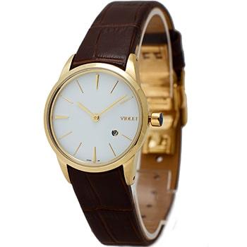 ساعت ویولت زنانه کلاسیک طلایی بند چرم صفحه سفید کد 0500/2L