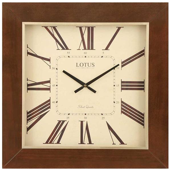 ساعت دیواری چوبی مربع لوتوس مدل TROY_9911