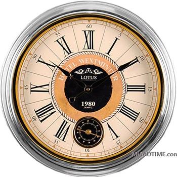 ساعت دیواری گرد فلزی لوتوس دو موتوره مدل GREENFIELD-M3012